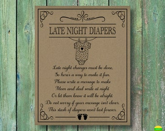 PRINTABLE Late Night Diapers Sign-Printable Baby Shower Sign-Baby Shower Game-Diapers Thoughts Sign-Rustic Baby Shower-Instant Download-LND4
