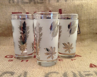 Vintage Libbey frosted silver leaf glassware. Multiple sizes available