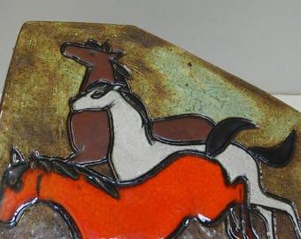Large Krösselbach wall ceramic asymmetrical horses