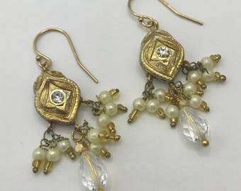 Gold Meenakari Drop Handmade Earrings