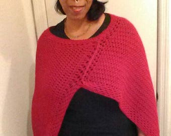 Crocheted poncho with matching hat