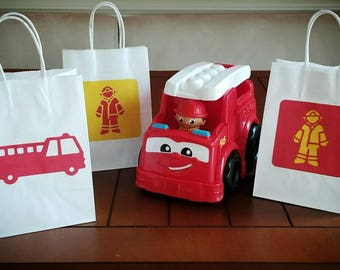 Firefighter Favor Bags, Fire Engine Gift Bags, Set of 12