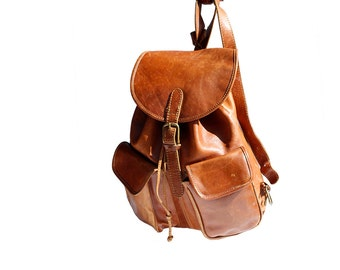 Warm Wassail Brown Leather Backpack