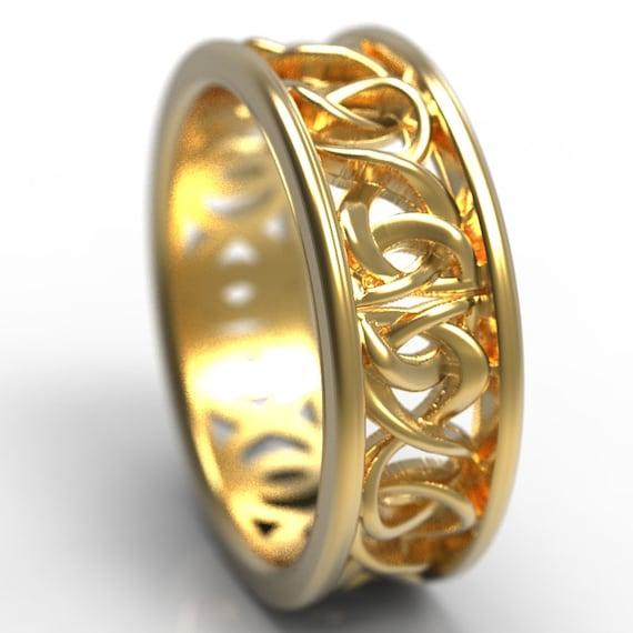 Celtic Knot Gold Ring With Woven Dara Knotwork Design in 10K, 14K, 18k Gold, Palladium or Platinum, Wedding Ring Made in Your Size CR-5006