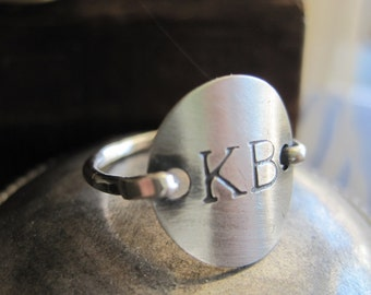 Stamped Ring Sterling silver Monogram, Personalized Initial Ring, engraved ring, custom ring