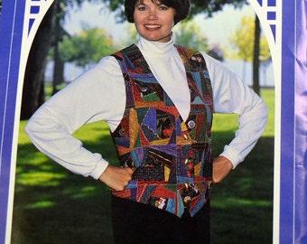 Sewing Pattern Back Porch Press Crazy Quilt Vest  Uncut  Complete Size 6-22 Bust 30-44 inches