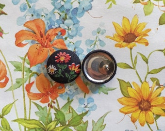 Fabric Button Earrings / Wholesale Jewelry / Stud Earrings / Gifts for Her / Vintage Floral / Bulk Earrings / Handmade