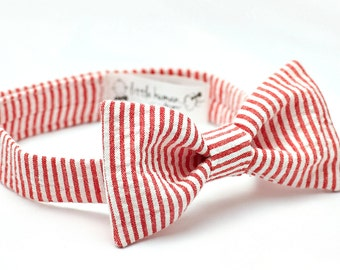 Bow Tie for Boys - Red Seersucker Bow Tie, Red Striped Bow Tie for Baby Boy, Red Boy Bow Tie, Red Seersucker Baby Boy Bowtie, Red and White