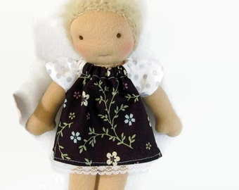 7 to 8 inch Waldorf Doll Dress, brown floral print with gray polka dot sleeves doll dress, toy clothing, tiny doll dress