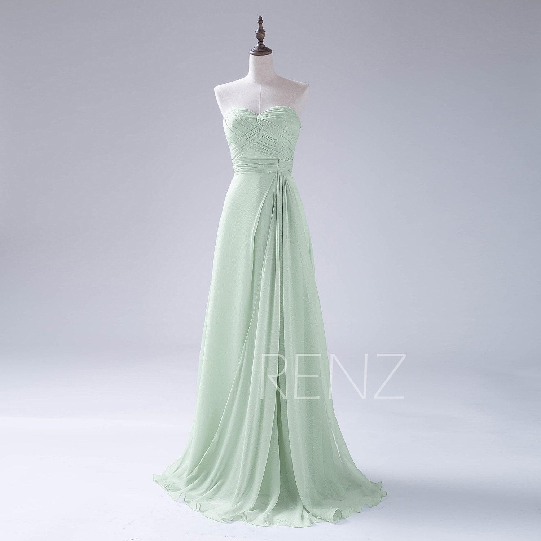 Bridesmaid dress dusty mint chiffon wedding dressruched top zoom ombrellifo Gallery