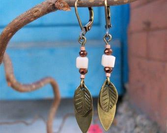 Earrings Double leaf