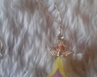 Hand Crafted Yellow & Lilac Mini Guardian Angel Pendant Necklace