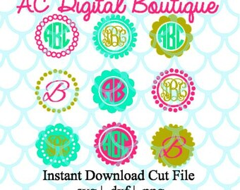 Circle Dot Monogram Borders Digital Cut File--Instant Download--SVG, DXF, PNG Files for Cutting Machine Software