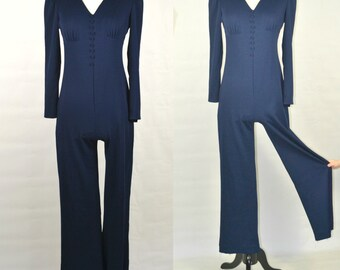 1970s Dark Blue Jumpsuit, Pants, Disco, Romper, Polyester, Small