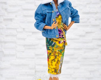 ELENPRIV jeans oversize jacket with hand embroidery and full lining for Fashion Royalty FR2 and similar body size dolls