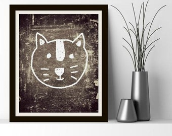 Cat Doodle - Benefiting Illinois Humane! Cat Art, Cat Wall Art, Black and White, Chalkboard, Print, Brown and White, Kitty, Cat, Animal