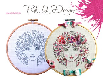 Flower embroidery. Dimensional pattern