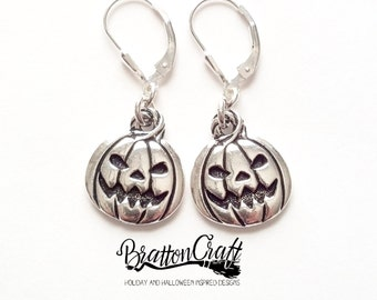 Silver Pumpkin Earrings - Fun Halloween Earrings - Halloween Jewelry - Pumpkin Jewelry - Pumpkin Earrings
