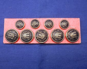 ViNTAGE JaPANESE HiGH-SCHooL UNiFORM BuTTONs CaRD - FREE SHiPPiNG!!