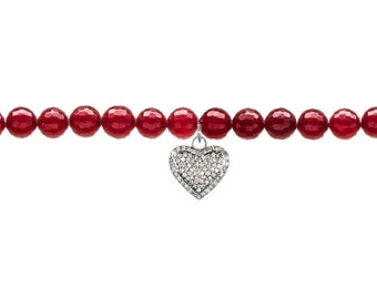 Diamond pave heart charm bracelet with ruby red Agate beads