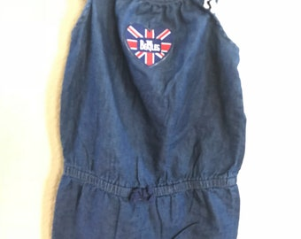 Beatles Upcycled  romper / overall jeans denim girls size 5T