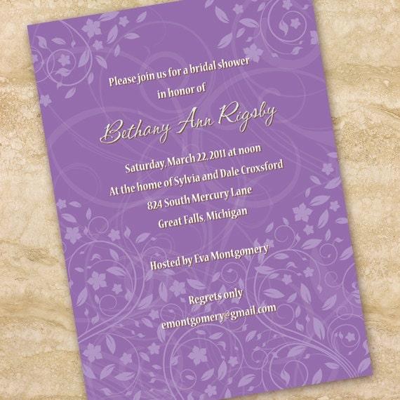 bridal shower invitations, lavendar bridal shower invitations, hyacinth wedding invitations, purple wedding invitations, hyacinth retirement
