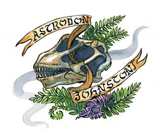 Astrodon johnstoni Maryland state dinosaur skull, Maryland series, illustration print in multiple sizes