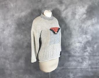 Oversized Grey Sweater with Pocket, Size Large