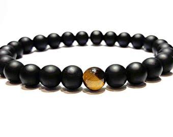 onyx & tiger eye bracelet men black stone bracelet gift for men him gemstone bracelet simple bracelet stretch hand made protection bracelet