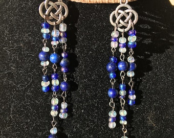 Celtic knot earrings with lapis lazuli and seed beads.
