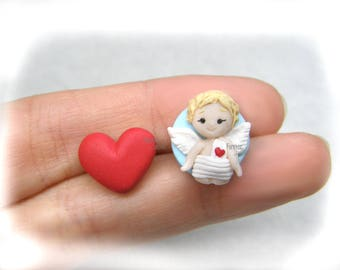 Angel and heart Earrings gift Idea Fimo Valentine