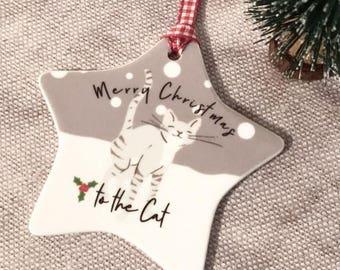 Personalised Cat Merry Christmas ....Ceramic Star... Christmas Gift - Tree Decoration - Keepsake