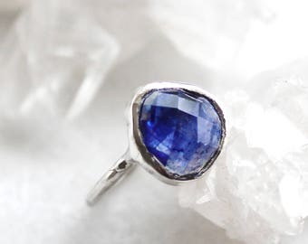 ON SALE sapphire ring, September birthstone, blue sapphire, rose cut ring, rose cut, sterling silver, recycled silver