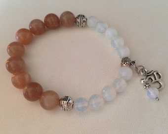 MOONSTONE bracelet (B152) and Opalite stones with Ohm charm, stone bracelet, opalite bracelet, stone jewelry