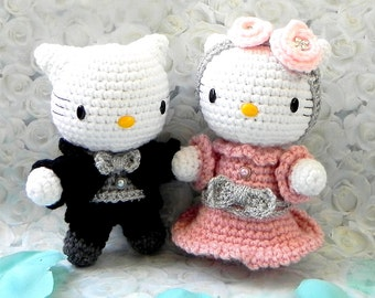 Crochet Amigurumi doll pattern - Wedding kitty couple - amigurumi toy doll tutorial PDF