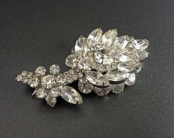 Juliana Rhinestone Leaf Brooch, Flower Statement Brooch with Clear Rhinestones, Juliana Vintage Jewelry, Marquise Rhinestones on Silver