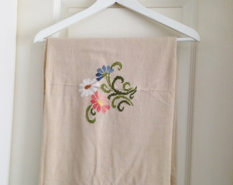 Rectangular Table Cloth with Embroidered Flowers