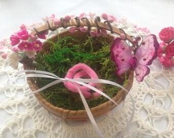 RING BEARER BASKET, Ring Bearer Box Alternative, Ring Bearer Woodland Basket, Boho ring pillow alternative, Butterfly ring bearer basket