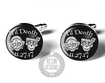 Personalized Custom Sugar Skull Wedding Cufflinks, Fiance Gift, Day of the Dead Cufflinks, Mens Accessories, Groom Gift
