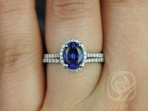 Rosados Box Rebecca 8x6mm 14kt White Gold Oval Blue Sapphire and Diamonds Halo Classic Wedding Set