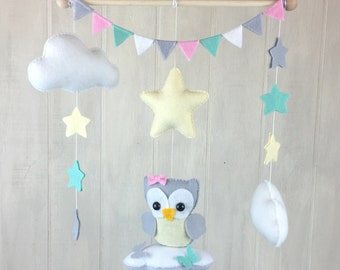 Baby mobile - owl mobile - cloud mobile - star mobile - pink mint and yellow - owl nursery - baby crib mobiles