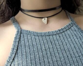 Heart Choker, Valentine's Day Necklace, Heart Choker Necklace, Leather Double Wrap Choker, Layering  Black Choker, Silver Heart Choker, Wrap