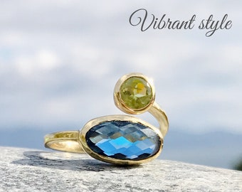 Hindu boho blue labradorite and peridot ring