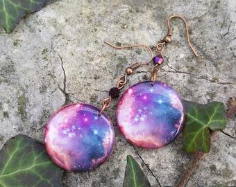 Galaxy Earrings - Resin Earrings - Resin Jewelry - Galaxy Jewelry - Galaxy Photo - Round Dangle Earrings - Galaxy Resin Jewelry - Gift Ideas