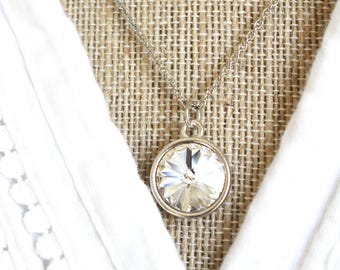 Crystal Rivoli Necklace, Clear Crystal Necklace, Crystal and silver necklace, modern style necklace, bridesmaid necklace, Swarovski necklace