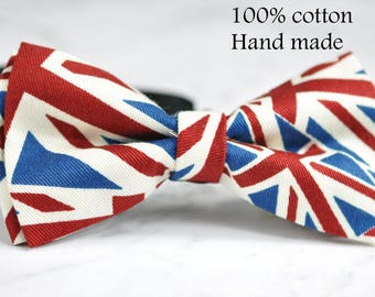 New Men Women 100% Cotton UK UNITED KINGDOM British Flag Hand Made Bow Tie Bowtie