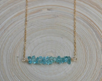 Apatite Bar Necklace, Apatite Necklace, Gemstone Bar Necklace, Gold Apatite Necklace, Apatite Layering Necklace