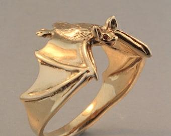 Gold Bat Ring Bat Ring Bat Jewelry Classic Bat Ring with Ruby Eyes 14k Gold Ring Gold Bat