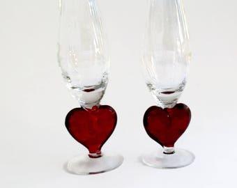 Vintage Champagne Glasses - Champagne Flutes - Red Glass Heart Champagne Stems - Vintage Vases - Valentines Decor