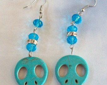 SKULL Earrings Turquoise Blue Flat with Blue Crystals